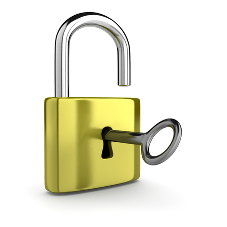 unblock: Key in the Metal Padlock Open Isolated on White Background