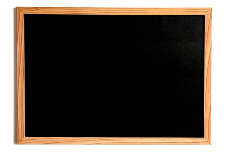 wooden frame: Blackboard or Chalkboard, Empty Slate Dark Coloured Board with Wooden Frame Isolated on White Stock Photo