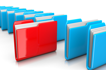 organise: Single Red Document Folder among Many Blue on White Background 3D Illustration, Find Documents Concept Stock Photo