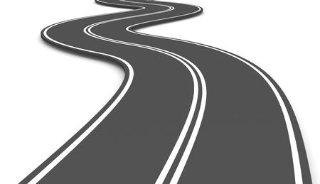 Asphalt Road on White Background 3D Illustration