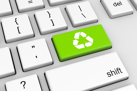 Computer Keyboard with Recycle Sign Green Button Illustration Stock Photo