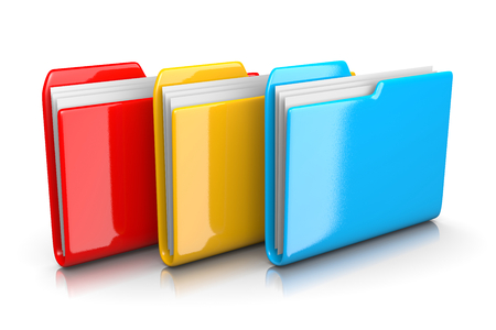 organise: Three Colorful Red, Yellow and Blue Document Folders on White Background 3D Illustration Stock Photo