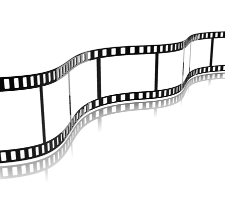photo strip: Movie Film Stripe Template on White Background 3D Illustration