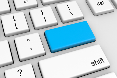 computer button: Computer Keyboard with Empty, Blank, Customizable Blue Button Illustration