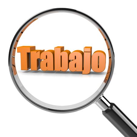 Vidrio de la lupa Enfocada al empleo del ejemplo del texto español, búsqueda de concepto del Trabajo