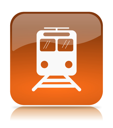 Orange Train App Icon Illustration on White Background