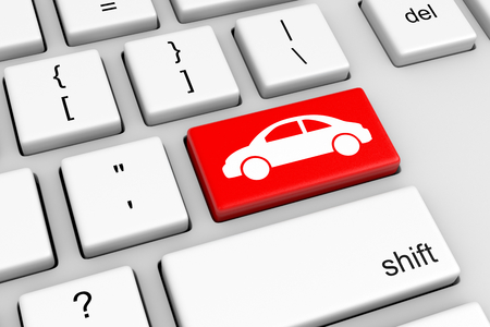 Computer Keyboard with Red Car Button Illustration. Online Car Insurance Concept