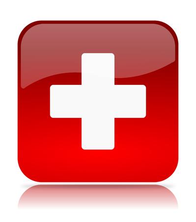 red cross: Cruz Roja App Icon Ilustraci�n en el fondo blanco Foto de archivo
