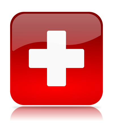 Red Cross App Icon Illustration on White Background Standard-Bild