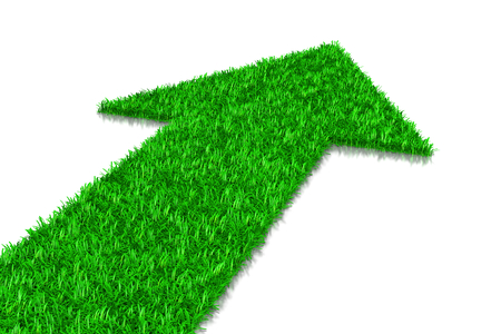 green road: Green Grass Arrow, Direction Concept 3D Illustration on White Background Stock Photo