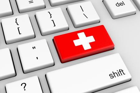 red cross: Teclado de ordenador con la Cruz Roja Ilustraci�n Button