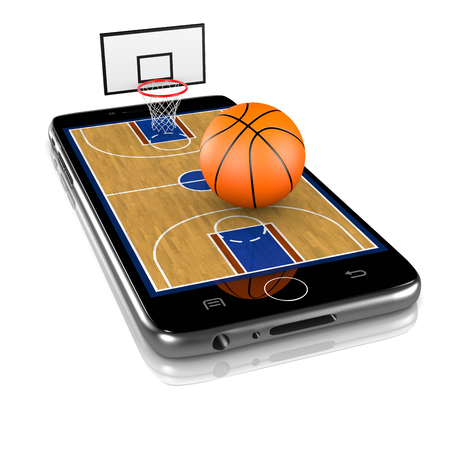 Basketball Field with Ball and Basket on Smartphone Display 3D Illustration Isolated on White Background Stock Photo