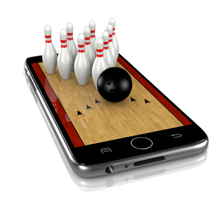 sporting event: Bowling Field with Skittles and Ball on Smartphone Display 3D Illustration Isolated on White Background