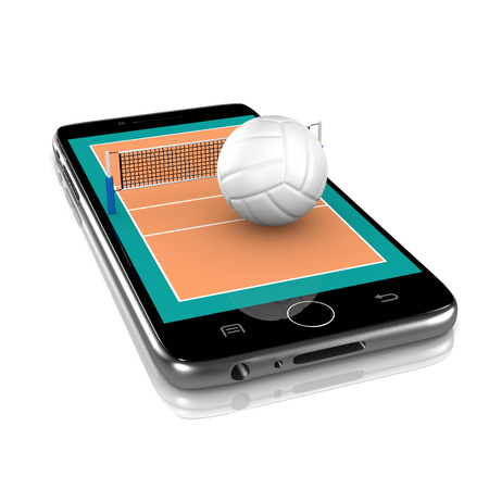 Volleyball Field with Ball and Net on Smartphone Display 3D Illustration Isolated on White Background