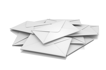 mail delivery: Letters Heap 3D Illustration on White Background