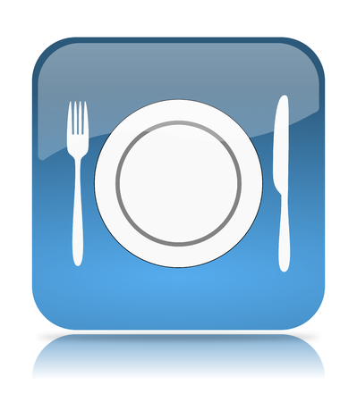 reserves: Blue Restaurant App Icon Illustration on White Background