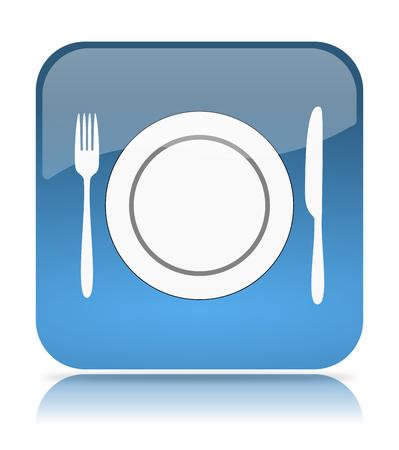 Blue Restaurant App Icon Illustration on White Background