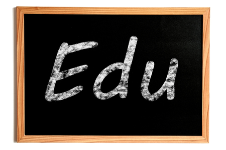 edu: Edu Chalk Text on Chalkboard with Wooden Frame Isolated on White