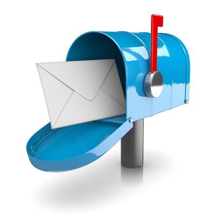 Blue Mailbox on White Background 3D Illustration