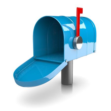 metal mailbox: Empty Blue Mailbox on White Background 3D Illustration