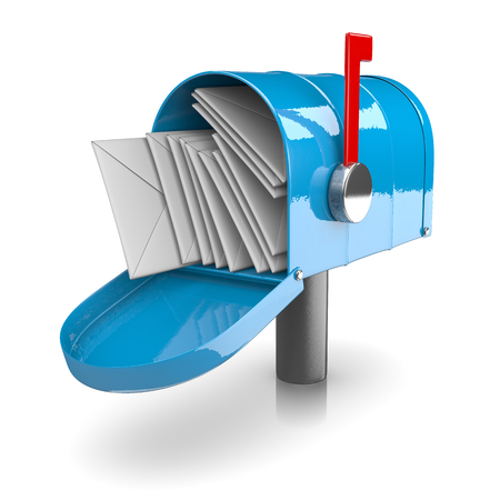 inbox: Full Blue Mailbox on White Background 3D Illustration