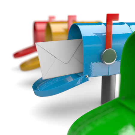 metal mailbox: Colorful Mail Boxes on White Background 3D Illustration