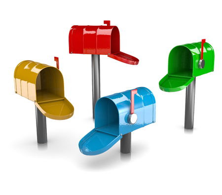 metal mailbox: Colorful Mail Boxes Collection on White Background 3D Illustration