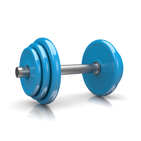 Blue Weight on White Background 3D Illustration