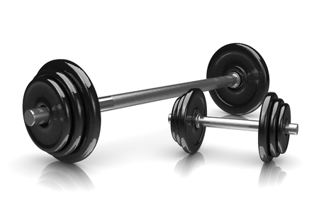 weights: Couple of Black Weights on White Background 3D Illustration