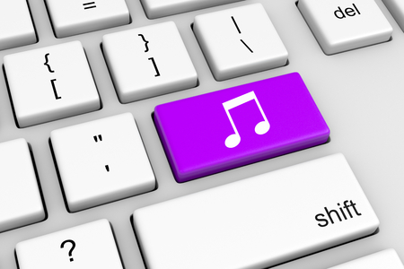 note pc: Computer Keyboard with Violet Musical Notes Button Illustration