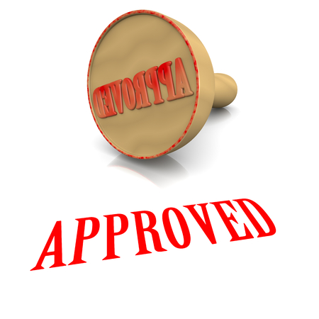 acceptation: Approved Red Ink Text Wooden Stamp on White Background 3D Illustration Stock Photo