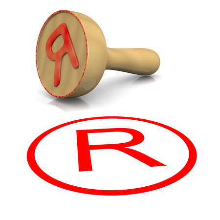 licence: Trademark Red Ink Text Wooden Stamp on White Background 3D Illustration Stock Photo