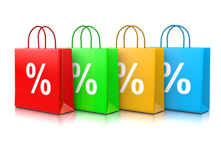 series: Colorful Shopping Bags Series with Percentage Sign Isolated on White Background 3D Illustration Stock Photo