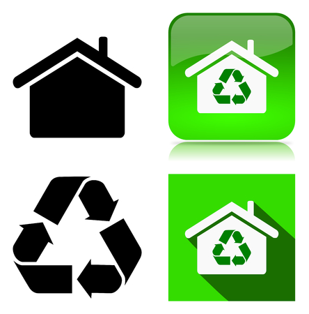 icon series: Green Home Recycle Environment Sustainable Building Icon Series Illustration on White Background Stock Photo