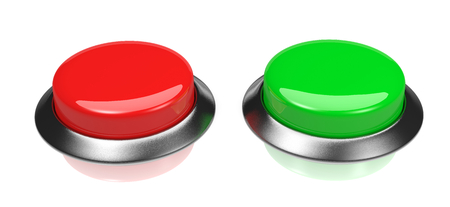 glossy buttons: Two Red and Green Glossy Buttons on White Background 3D Illustration