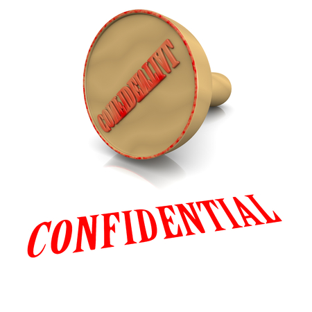 confidentiality: Confidential Red Ink Text Wooden Stamp on White Background 3D Illustration