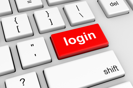 login button: Computer Keyboard with Red Login Button Illustration Stock Photo