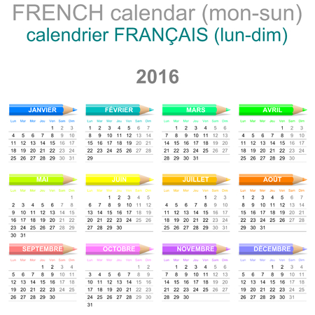 Colorful Monday to Sunday 2016 Calendar with Crayons French Version Illustration