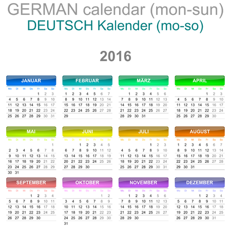 newyear: Colorful Monday to Sunday 2016 Calendar German Language Version Illustration