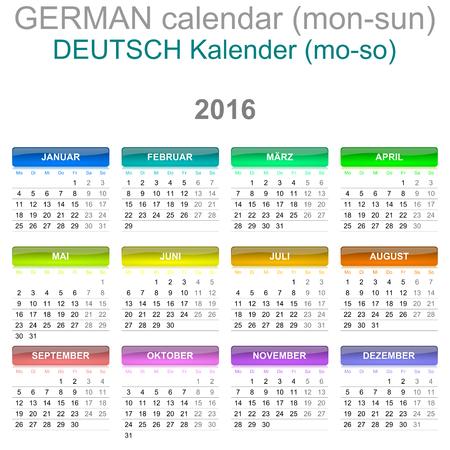 version: Colorful Monday to Sunday 2016 Calendar German Language Version Illustration
