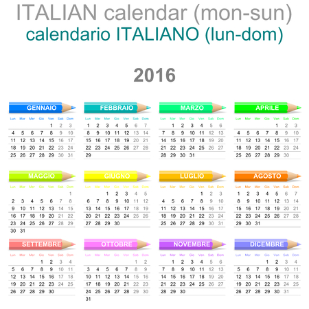 Colorful Monday to Sunday 2016 Calendar with Crayons Italian Version Illustration
