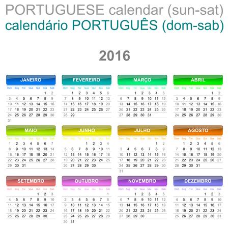 saturday: Colorful Sunday to Saturday 2016 Calendar Portuguese Language Version Illustration Stock Photo