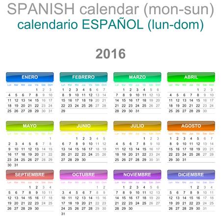 version: Colorful Monday to Sunday 2016 Calendar Spanish Language Version Illustration Stock Photo