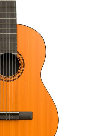 白い背景のクラシック ギター本体クローズ アップ 写真素材
