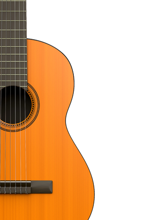 classical guitar: Classical Guitar Body Closeup on White Background