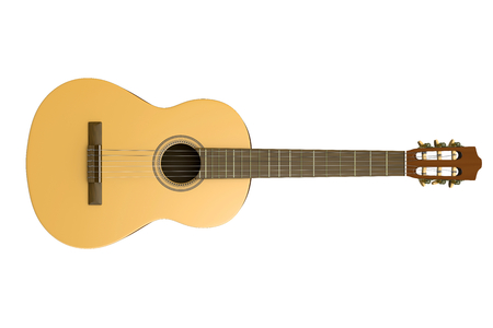 classical guitar: Classical Guitar Isolated on White Background 3D Photorealistic Illustration Stock Photo