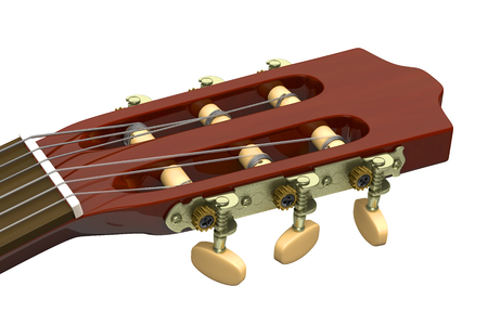 classical guitar: Classical Guitar Headstock Closeup on White Background