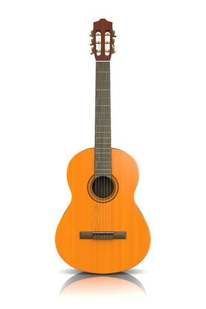 classical guitar: Classical Guitar on White Background 3D Photorealistic Illustration