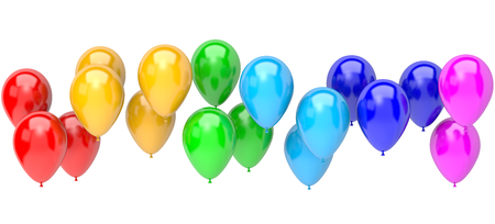 Stripe of Rainbow Color Balloons on White Background 3D Illustration