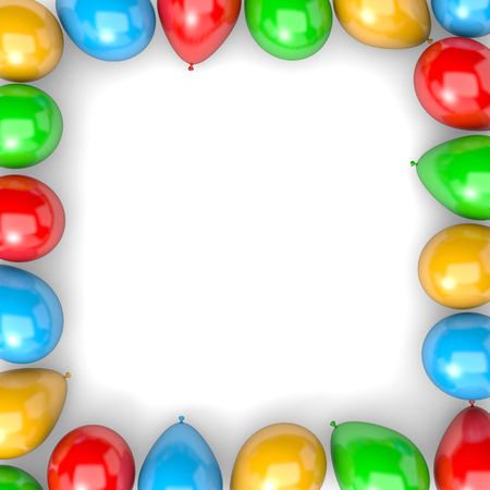 arranged: Vibrant Color Balloons Arranged as Frame on White Background 3D Illustration
